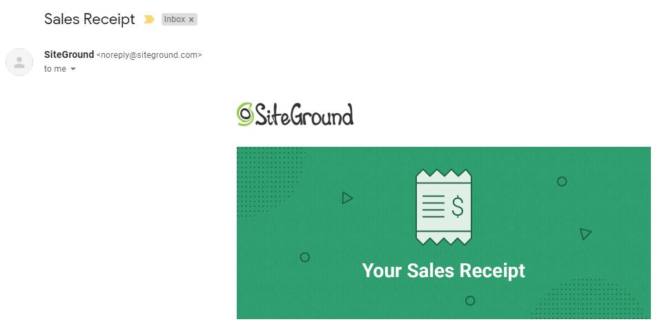 receipt Siteground